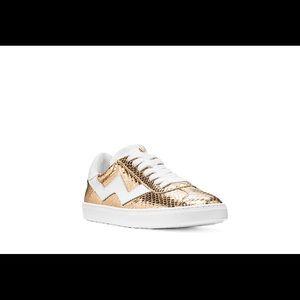 Stuart Weitzman Sneaker in Gold Snake